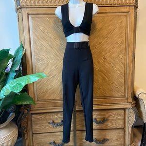 Prettylittlething black V-neck crop top pants set
